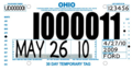 Ohio temporary license plate, Ford (May 2010).png