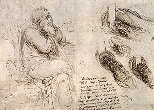 Science and inventions of Leonardo da Vinci - From Leonardo's journals - studies of an old man and the action of water.