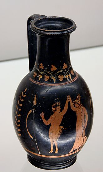 Greek dances - God Pan and a Maenad dancing. Ancient Greek red-figured olpe from Apulia, ca. 320–310 BCE. Pan's right hand fingers are in a snapping position.