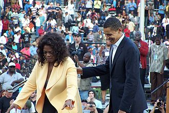 Oprah Winfrey's endorsement of Barack Obama - Winfrey and Obama at Williams-Brice Football Stadium in Columbia, SC (December 9, 2007)