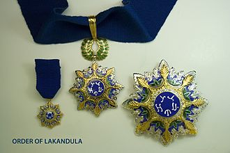 Order of Lakandula - The badge on a neck ribbon, the star and miniature suspended from a chest ribbon of a Grand Officer of the Order of Lakandula.