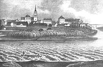 Drawing of central Oulu from the 19th Century.