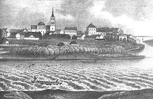 Oulu - Drawing of central Oulu from the 19th Century
