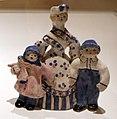 Overbeck pottery, figurine con scoiattolo, george washington e madre con due bambini, s.d. (1930-45 ca.) 01.jpg
