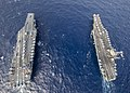 Overhead view of USS Gerald R. Ford (CVN-78) and USS Harry S. Truman (CVN-75) in the Atlantic Ocean on 4 June 2020 (200604-N-OH637-1453).JPG