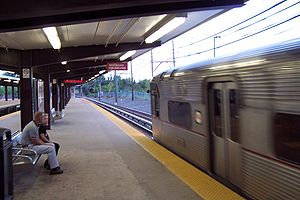 Woodcrest station - A Philadelphia-bound train arrives at the station in 2005