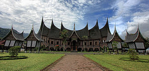 "A traditional Minangkabau rumah gadang (""big house"") in Padang Panjang"