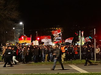 Radical right (Europe) - A 2015 demonstration of German radical right group Pegida.