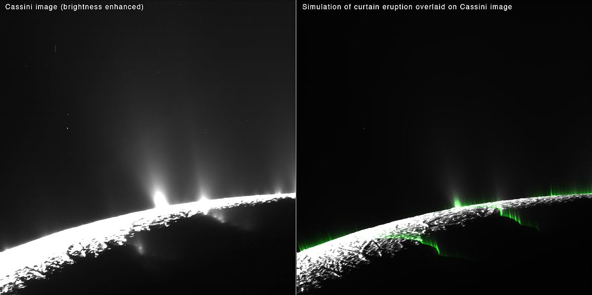 "Eruptions on Enceladus may seem to be ""discrete"" jets, but may be ""curtain"" eruptions instead (video animation) PIA19061-SaturnMoonEnceladus-CurtainNotDiscrete-Eruptions-20150506.jpg"