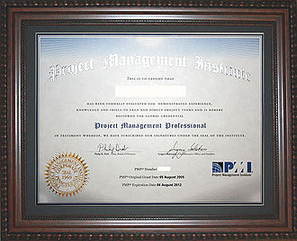 Project Management Professional - An example of a PMP Certificate issued by the PMI to candidates who pass the Project Management Professional Exam.