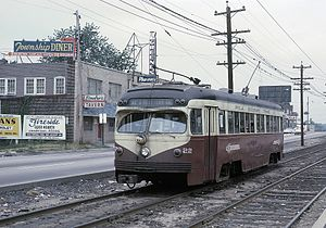 Pennsylvania Route 3 - A Route 103 trolley on West Chester Pike in 1964. Route 103 ran on West Chester Pike for a length, then diverged north to Ardmore.