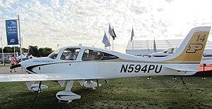 Purdue University School of Aeronautics and Astronautics - Purdue Cirrus SR20 on display