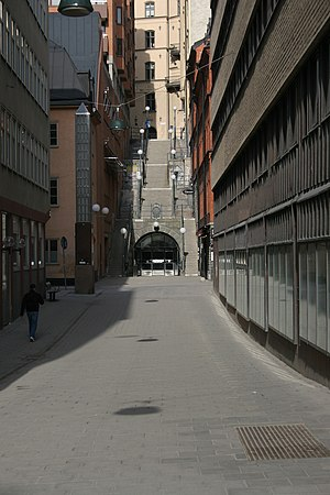 Tunnelgatan - Section of Tunnelgatan in April 2005 showing the escape route of Olof Palme's assassin.