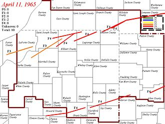 1965 Palm Sunday tornado outbreak - Northern Indiana tornado tracks. Map showing the confirmed paths of the Palm Sunday tornadoes with Fujita scale intensity.