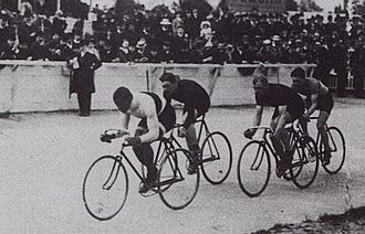Track cycling - An outdoor track race in Paris in 1908 featuring Major Taylor, the first African-American cyclist to become world champion