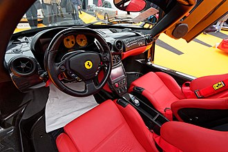 Enzo Ferrari (automobile) - The Ferrari Enzo used the F1 transmission and had a gear shift indicator on the steering wheel telling the driver when to change gears