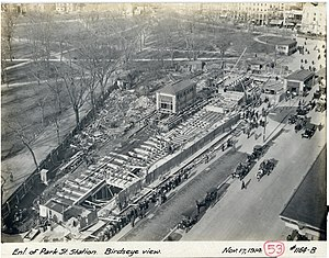 Park Street (MBTA station) - Expansion of the upper level in 1914
