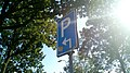 Parking sign with an arrow pointing forward and then right, Winschoten (2019) 05.jpg