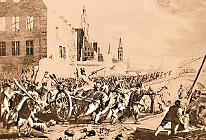 Brabant Revolution - Scenes of the popular uprising at Ghent in support of the patriot army in November 1789