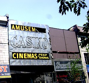 Adult movie theater - Adult movie theatres and peep shows on Montreal's St. Laurent Street