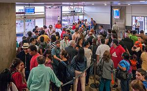 Bolivarian diaspora - Airline passengers leaving Venezuela from Maiquetia Airport.