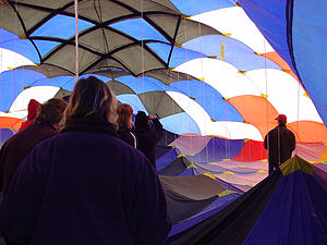 Peter Lynn - Inside the 1997 World's Largest Kite. The thru cord system for holding the kite profile are the cords that run from the 'ceiling' to the 'floor'
