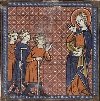 Saint Petronilla - Saint Petronilla and the Sick.  14th-century French manuscript.