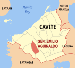 Map of Cavite showing the location of Gen. E. Aguinaldo