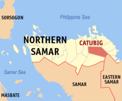 Map of Northern Samar showing the location of Catubig.