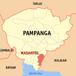 Map of Pampanga showing the location of Masantol.