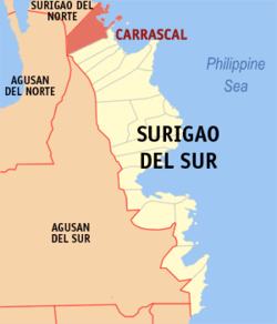 Map of Surigao del Sur with Carrascal highlighted