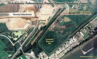 Philadelphia International Airport - Aerial view of construction of runway 8/26