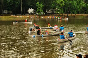 LeFleur's Bluff State Park - A canoe race at the park