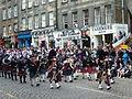 Pipe band in the Lawnmarket, Edinburgh.jpg