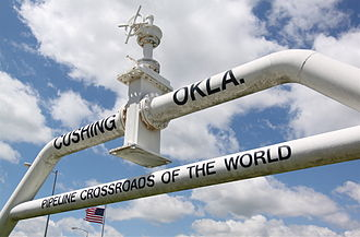 Cushing-Drumright Oil Field - The pipeline monument in Cushing, Oklahoma