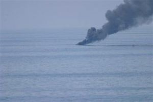Action of 28 October 2007 - Skiff burning after taking 25 mm rounds