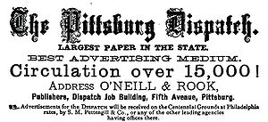 Pittsburgh Dispatch - Advertisement for the Pittsburgh Dispatch from 1876