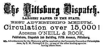"Name of Pittsburgh - Advertisement for The Pittsburg Dispatch from 1876. The paper was an early adopter (1840s) and late holdout (1923) of the ""Pittsburg"" spelling."