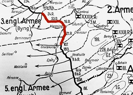 Map of the Michael offensive showing in red the section of the British front that was not assaulted frontally, its defenders were to be encircled by the attackers on their flanks. Plan for Michael attack, March 1918.jpg