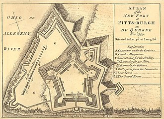 "Fort Pitt (Pennsylvania) - ""A Plan of the New Fort at Pitts-Burgh"", drawn by cartographer John Rocque and published in 1765."