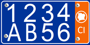 Vehicle registration plates of Ivory Coast - Image: Plaque d'immatriculation Cote d'ivoire Vehicle Privee 2