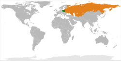 Map indicating locations of Poland and Soviet Union