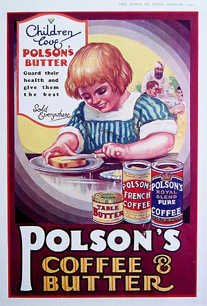 Vintage advertisement poster of Polson (brand) from India.