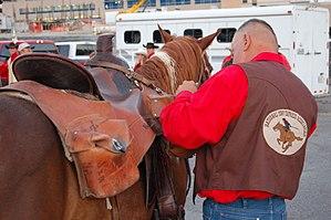 Pony Express mochila - Pony Express reenactment demonstrating the mochila