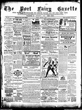 Port Fairy Gazette - Front page of Port Fairy Gazette, 2 January 1914