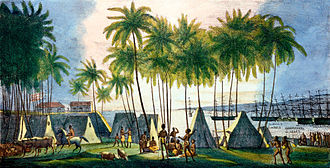 Honolulu - Port of Honolulu, as seen by German-Russian artist Louis Choris in 1816