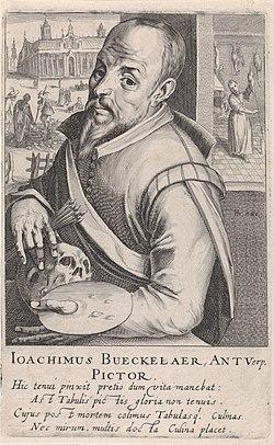 Portret van Joachim Beuckelaer Ioachimus Bueckelaer, Antverp. Pictor. (titel op object) Pictorum Aliquot Celebrium Praecipuae Germaniae Inferioris Effigies (serietitel), RP-P-1907-353.jpg