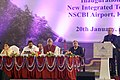 Pranab Mukherjee addressing at the inauguration of the new Integrated Terminal Building at Netaji Subhash Chandra Bose International (NSCBI) Airport, in Kolkata. The Chief Minister of West Bengal.jpg