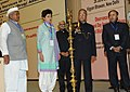 Pranab Mukherjee lighting the lamp at the presentation of the National Awards for Outstanding Services in the field of Prevention of Alcoholism and Substance (Drugs) Abuse, 2013.jpg