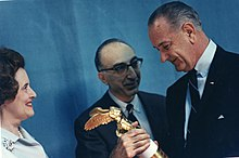 President Lyndon Johnson accepts the Albert Lasker Award (14172750189).jpg